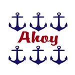 Ahoy Navy & Red Anchors