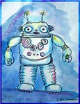 Robot, cute, retro, cartoon art!