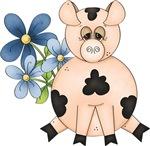Cute Pink Pig & Blue Flowers