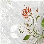 Grunge Grey Red_Floral