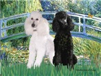 LILY POND BRDGE<br> & 2 Std Poodles