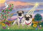 CLOUD ANGEL<br> & 2 fawn Pugs