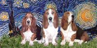 STARRY NIGHT<br>Three Basset Hounds