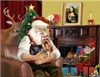 SANTA AT HOME<br>With Yorkshire Terrier (#9)