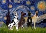 STARRY NIGHT<br>& 4 Great Danes