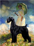 WOMAN WITH UMBRELLA <br>& Giant Schnauzer (black)