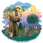 St. Francis (ff) with a<br>Norwegian Forest Cat