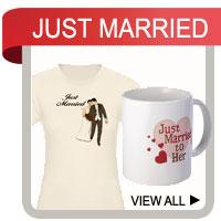 Just Married T-shirts and Wedding Gifts