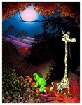 Fantasy Art Deco Giraffe and Frog Fun Print