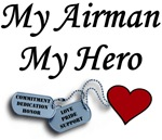 Air Force My Airman My Hero Dog Tags with Heart