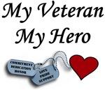 My Veteran My Hero Dog Tags with Heart