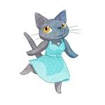 Cute Grey Cat in Polka Dot Dress