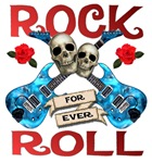 Rock N' Roll 4 Ever Blue Guitars Rose Leafs