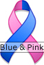 Blue and Pink Ribbon for Male Breast Cancer