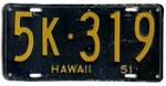 Hawaiian 1951 License Plate