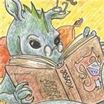 A dragon hoard can also consist of books.  This cute dragon believes he has found a fine treasure.  Get this and more at Gifts for a Geek with lots of literary and book geek gifts.