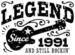 Legend Since 1991 t-shirts