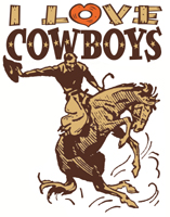 Retro I Love Cowboys t-shirts