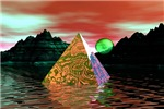 Pyramid with green sun