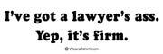 I've got a lawyer's ass. Yep, it's firm.