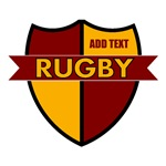Rugby Shield Maroon Gold Personalize