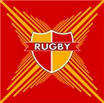 Rugby Crest Red Gold Stripe