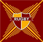 Rugby Crest Maroon Gold Stripe