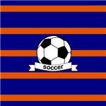 Soccer Ball Banner Orange and Blue Strip