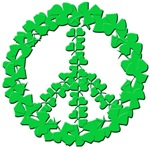 Peace Sign Made from Irish Shamrocks