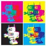 CMYK robot cool pop art style tee