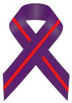 Purple With Red Stripe Awareness Ribbon