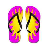 Colorful Bright Sun Flip FlopS