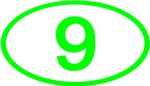 Number 9 Oval (Green)