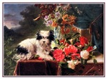 VINTAGE DOG ART: TERRIER WITH FLOWERS