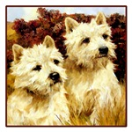 VINTAGE DOG ART: WEST HIGHLAND WHITE TERRIERS