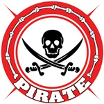 Red Pirate Skull and Swords