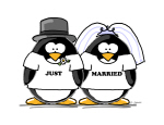Just Married Bride and Groom Penguin