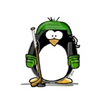 Green Hockey Penguin