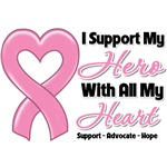 Breast Cancer I Support My Hero Shirts and Gifts