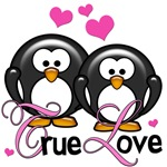 True Love Penguin Valentines Pink