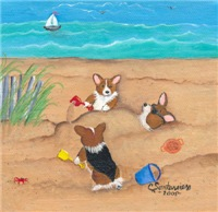 Buried in the Sand Pembroke Welsh Corgi