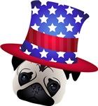 Patriotic Pug with Hat