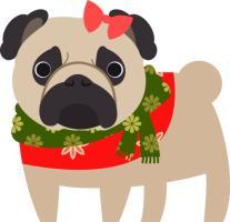 Christmas Pug Fawn Girl