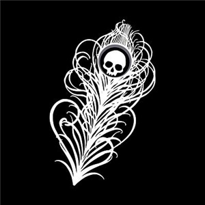 Skull Gothic Peacock Feather