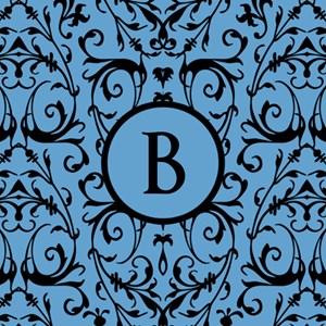 MONOGRAM Blue & Black Damask Pattern