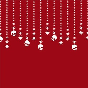 Skull Dangles Christmas Red