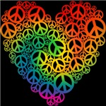 Rainbow Peace Hearts T-shirts & Gifts