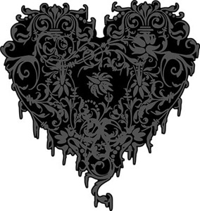 Ornate Grey Gothic Heart