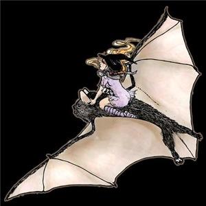 Tiny Witch On Bat