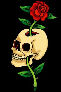 Skull With Rose Vintage Tattoo Art